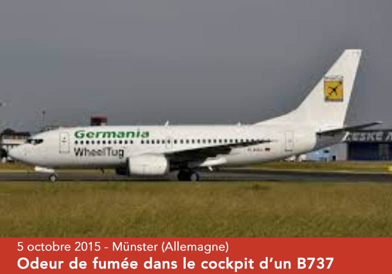Syndrome aérotoxique : odeur de fumée Boeing 737 Munster - Malaga - 5 octobre 2016