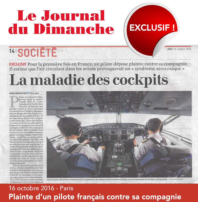 Syndrome aérotoxique : un pilote français porte plainte contre sa compagnie - 16 octobre 2016